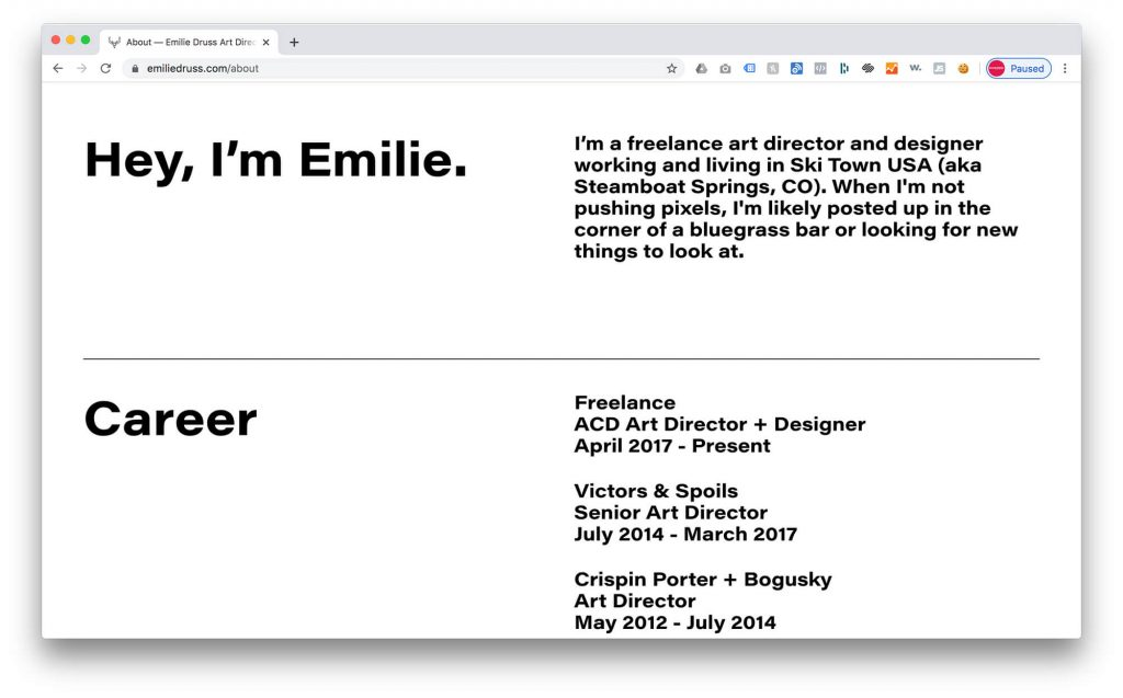 Emilie Druss - About Page example on Squarespace