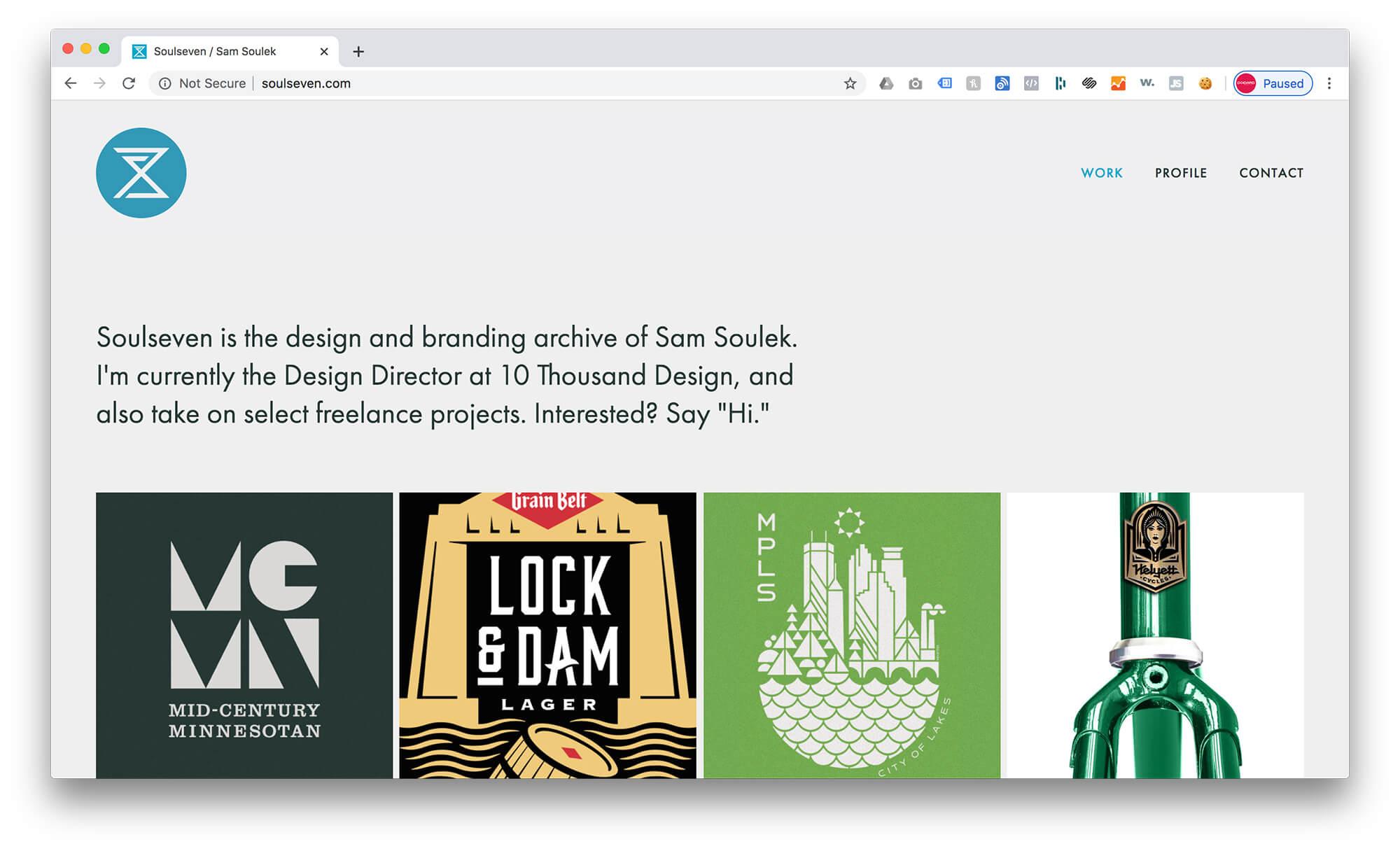 Sam Soulek's Squarespace Graphic Design Portfolio Example